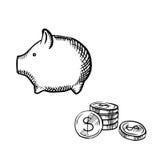 Croquis de pile de tirelire et de pièces de monnaie Photos stock