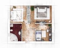 Croquis de plan d'étage Photographie stock