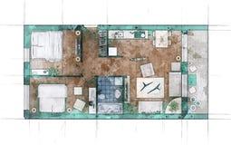 Croquis de plan d'étage Images libres de droits