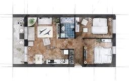Croquis de plan d'étage Photo stock