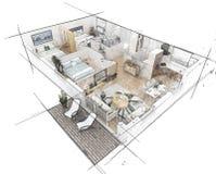 Croquis de plan d'étage Photos libres de droits