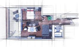Croquis de plan d'étage Images stock