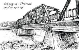 Croquis de pont en fer d'exposition de paysage urbain dans Chiangmai Thaïlande, illu Images stock