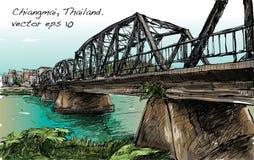 Croquis de pont en fer d'exposition de paysage urbain dans Chiangmai Thaïlande, illu Image libre de droits