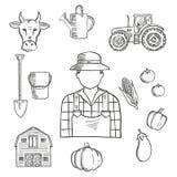 Croquis de profession d'agriculteur ou de travailleur de ferme Images stock