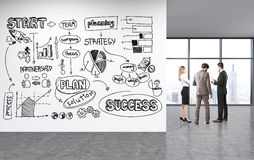 Croquis de réussite commerciale sur le mur Photographie stock libre de droits