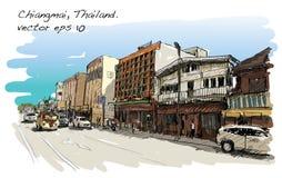 Croquis de rue et de bâtiment d'exposition de paysage urbain dans Chiangmai Photo stock