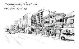Croquis de rue et de bâtiment d'exposition de paysage urbain dans Chiangmai Photos stock