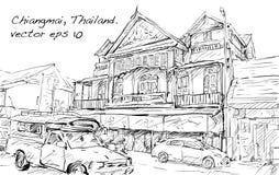 Croquis de rue et de bâtiment d'exposition de paysage urbain dans Chiangmai, Thail Image libre de droits