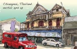 Croquis de rue et de bâtiment d'exposition de paysage urbain dans Chiangmai, Thail Photos stock