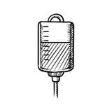 Croquis de sac de sang pour la transfusion Photo libre de droits