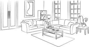 Croquis de salon et illustration de vecteur d'ensemble illustration stock