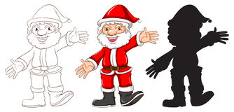 Croquis de Santa Claus dans trois couleurs différentes Photos libres de droits
