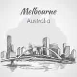 Croquis de scape de ville de Melbourne - Australie illustration libre de droits