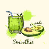 Croquis de smoothie d'avocat en verre Illustration de vecteur Photographie stock