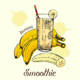 Croquis de smoothie de banane en verre Conception graphique Illustration de vecteur Photographie stock