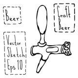 Croquis de style de griffonnage de robinet de bière Illustration de vecteur Photos libres de droits