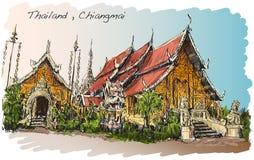 Croquis de style thaïlandais de l'Asie de temple dans Chiangmai, Wat Mahawan illustration de vecteur