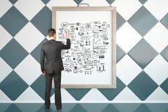 Croquis de succès de dessin d'homme d'affaires Images libres de droits
