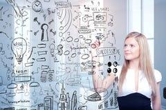 Croquis de succès de dessin de femme d'affaires Images stock