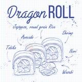 Croquis de sushi de vecteur, petit pain de dragon Photos stock