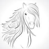 Croquis de tête de cheval avec la crinière sur le blanc. Vecteur Photos libres de droits