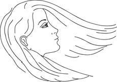 Croquis de tête et de cheveu du `s de fille, vecteur Image libre de droits