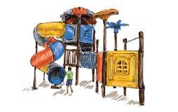 Croquis de terrain de jeu d'enfants sur l'espace public d'isolement, illustration Photo stock