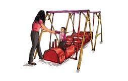 Croquis de terrain de jeu d'enfants sur l'espace public d'isolement, illustration Photos libres de droits