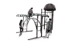 Croquis de terrain de jeu d'enfants sur l'espace public d'isolement, illustration Images stock