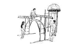 Croquis de terrain de jeu d'enfants sur l'espace public d'isolement, illustration Photographie stock