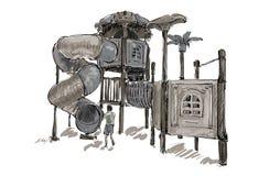 Croquis de terrain de jeu d'enfants sur l'espace public d'isolement, illustration Image libre de droits