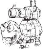 Croquis de tortue de réservoir de guerre Images libres de droits