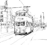 Croquis de tram de tradittonal de trasportation d'exposition de paysage urbain dans Engla Photo stock