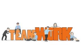 Croquis de travailler les lutins avec le grand travail d'équipe de mot Scène miniature mignonne de griffonnage des travailleurs I illustration de vecteur
