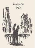 Croquis de vecteur dessiné par pont debout affectueux de couples illustration de vecteur