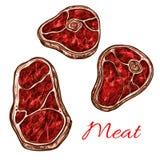 Croquis de vecteur de filet de biftek de viande fraîche de vecteur illustration stock