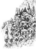 Croquis de village de montagne illustration libre de droits