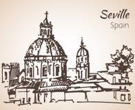 Croquis de ville Séville de l'Espagne Image libre de droits