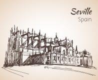 Croquis de ville Séville de l'Espagne La cathédrale de St Mary de Photo stock