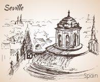 Croquis de ville Séville de l'Espagne Torre Giralda Image stock