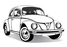 Croquis de voiture de vintage, livre de coloriage, dessin noir et blanc, monochrome Rétro transport de bande dessinée Illustratio Image libre de droits