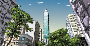Croquis de vue urbaine de rue d'exposition de paysage urbain à Taïwan, Taïpeh illustration de vecteur