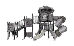 Croquis de zone de terrain de jeu pour des enfants, vecteur d'illustration Photographie stock