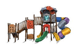 Croquis de zone de terrain de jeu pour des enfants, vecteur d'illustration Photo libre de droits