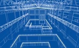 Croquis de zone industrielle Vecteur illustration stock