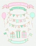 Croquis des éléments de fête d'anniversaire Illustration de Vecteur