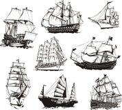 Croquis des bateaux de navigation illustration libre de droits