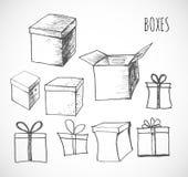 Croquis des boîte-cadeau Image libre de droits