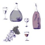 Croquis des bouteilles de vin Photo libre de droits